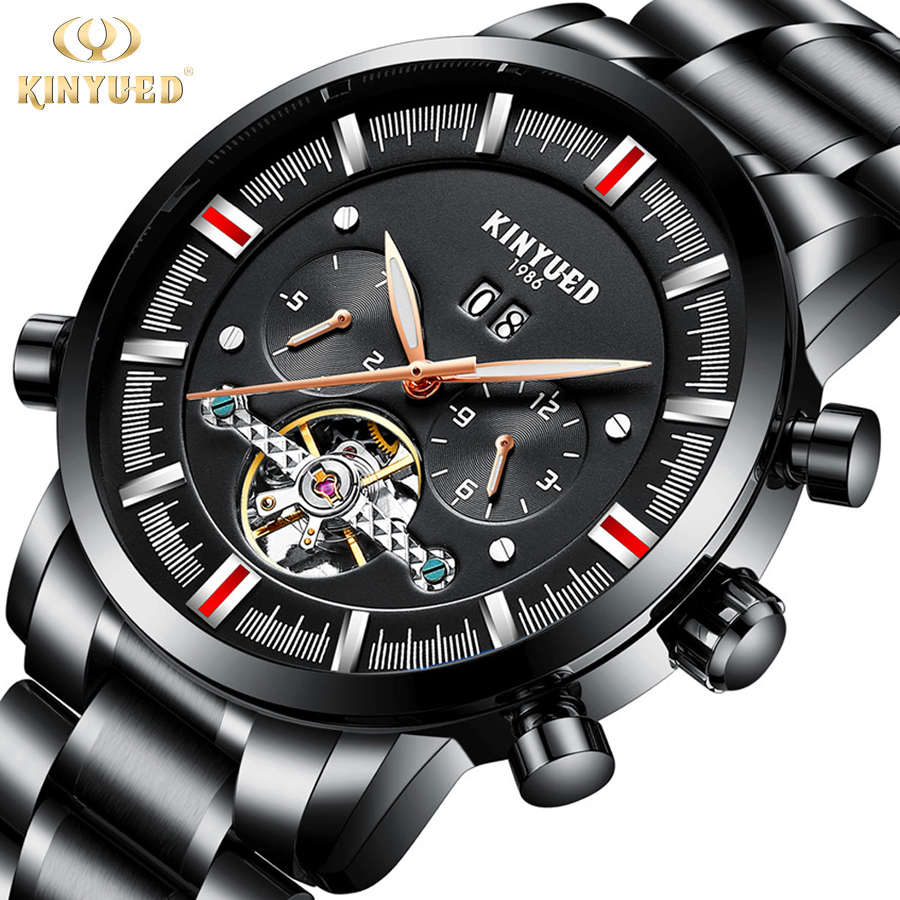 2018 Mens Watches Top Brand Luxury KINYUED Fashion Skeleton Clock Men Sport Watch Automatic Mechanical Watches Relogio Masculino winner sport racing style rubber band mens watches top brand luxury automatic fashion watch mechanical clock men white dial
