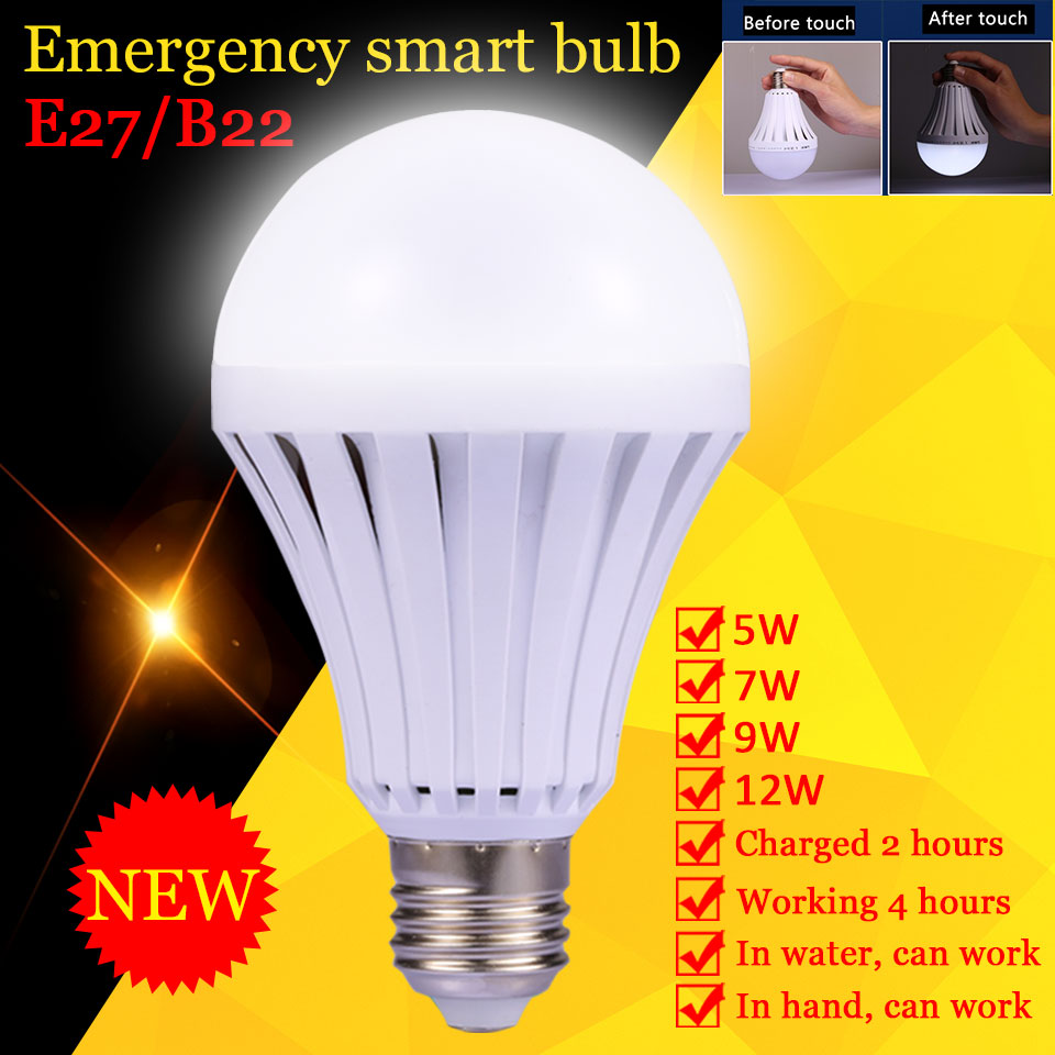 Rechargeable E27 Led Bulb Lamp 5W 7W 9W 12W B22 LED Emergency Light Bulbs Energy Saving Bombillas for Power Cut Outdoor Lighting led smart bulb e27 5w 7w 9w led emergency light 85 265v rechargeable battery lighting lamp for outdoor lighting bombillas