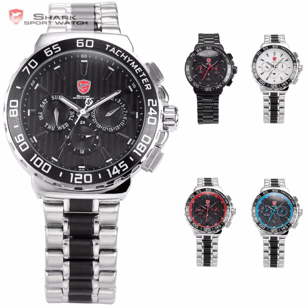 SHARK Sport Watch Silver Auto Date Dual Time Quartz Watch + Luxury Leather Gift Box 1