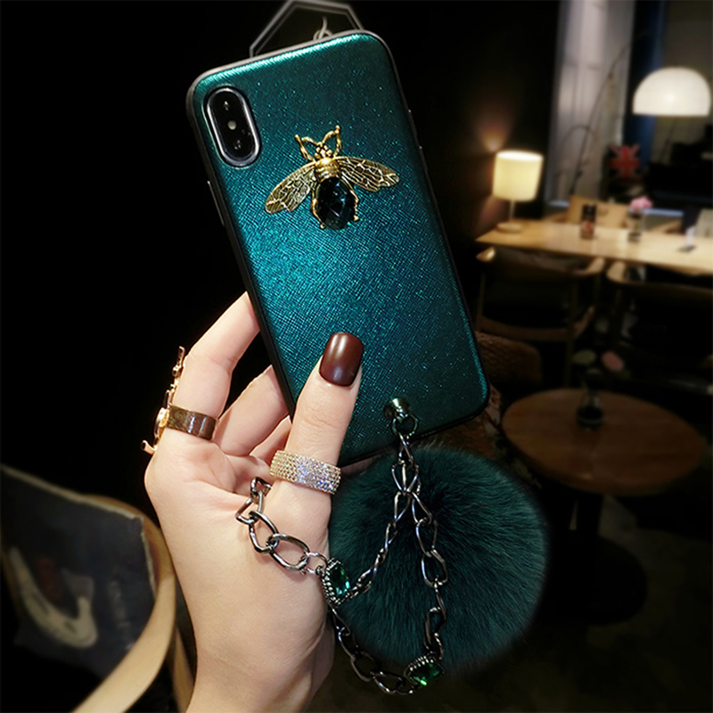 3D Cute Diamond Bee Bling Soft TPU Case for iPhone Xs Max Phone Cases Rhinestone Matte Shockproof Cover XR Coque