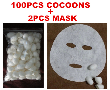 [Excellent Quality] 100pcs/lot Fresh Natural silkworm cocoons + mask facial cleanser Beauty& Healthy skin care,  Free shipping
