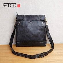купить AETOO Handmade leather men's shoulder bags, head-layer cowhide retro vertical men's casual crossbody bag по цене 3148.44 рублей