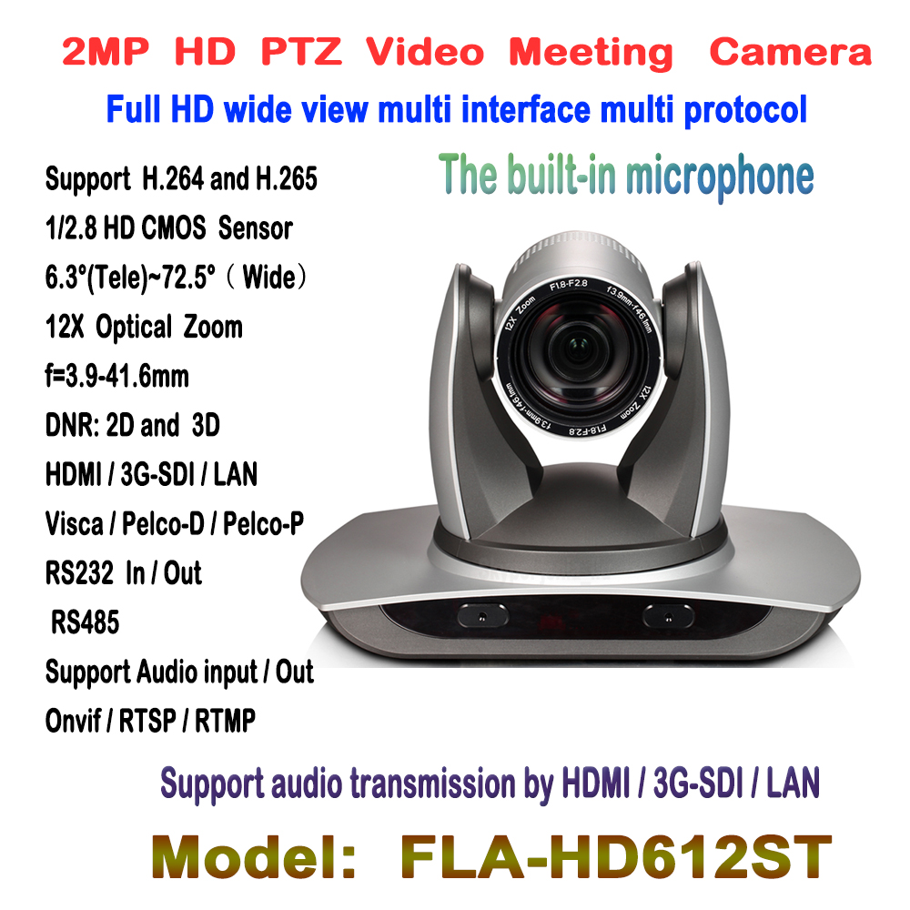 2MP Full HD grand angle de vue 12X Zoom 3G-SDI PTZ IP conférence filaire/Wifi PTZ caméra avec sorties Audio HDMI SDI