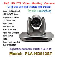 2MP Full HD wide view angle 12X Zoom 3G SDI PTZ IP Conferencing Wired / Wifi PTZ Camera with HDMI Audio SDI Outputs