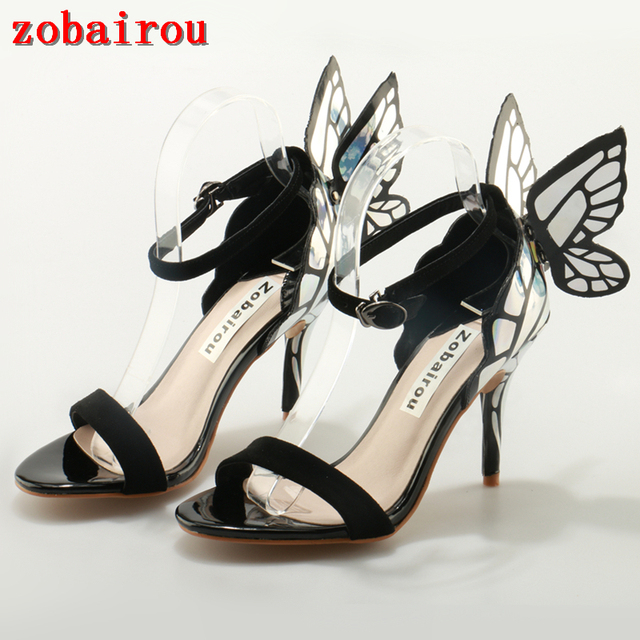 c2c48c21a11b Mixed Colors Shoes Woman Buckle Back Butterfly Wings Sandals Thin High Heels  Sandals Ankle Strap Sexy Women Shoes Plus