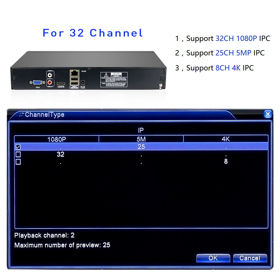 Hiseeu 2HDD 25CH 5MP 32CH 1080P 8CH 4K CCTV H.264 / H.265 NVR DVR - Sigurnost i zaštita - Foto 3