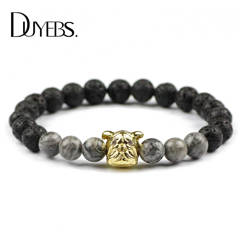 DUYEBS Pug Dog Men Charms Bracelets 8mm lava beads Natural Map Stone Elastic Zircon Bangle Trendy Jewelry Accessories pulsera