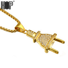 HIP Hop Gold Color Titanium Stainless Steel Ice Out Micro Pave Rhinestone Bling Plug Pendants Necklaces for Men Jewelry(China)