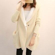 Knitted Sweater Women White Khaki Gray Plus Velvet Hooded Cardigan 2019 New Autumn Winter Outerwear Thick Warmth Clothing LD1143 autumn winter men s slim cotton blend velvet hooded sweater gray l