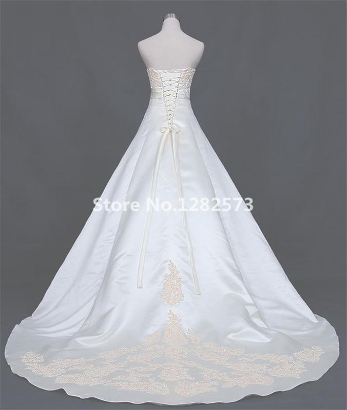 Ivoor een lijn trouwjurk lange elegante trouwjurken goedkope - Trouwjurken - Foto 2