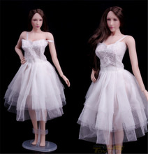 Action Figure Accessory Female 1/6 Scale White Evening Dress For Jiao doll PH Middle Breast Body Figure цена в Москве и Питере