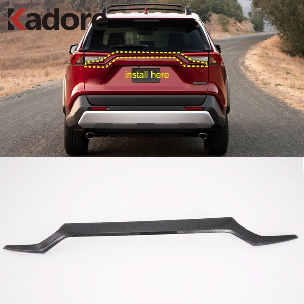 For Toyota <font><b>RAV4</b></font> RAV 4 2019 <font><b>2020</b></font> Carbon Fiber Rear Upper Trunk Lid Cover Trim Tailgate Boot Protection Strip Exterior Accessories image