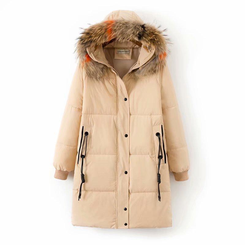 Plus size winter Fur women   parka   long jackets 2018 casual ladies Pockets black orange khaki 2XL to 5XL loose warm coat female
