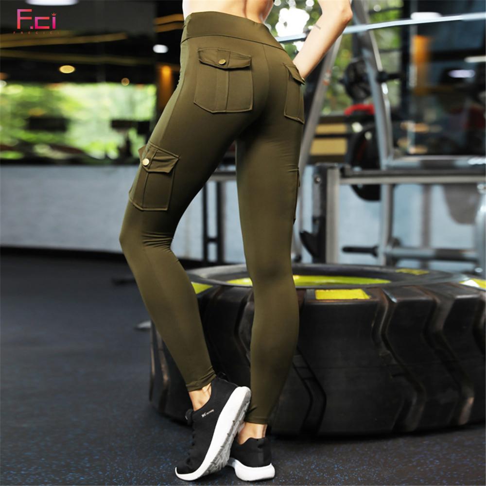 Pocket Leggings Cargo-Pants Booty Push-Up High-Waist Women Skinny Both-Side