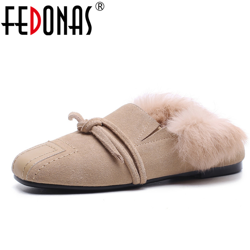 FEDONAS 2018 High Quality New Women Flats Cow Suede Shoes Woman Brand Rabbit Fur Driving Shoes Spring Autumn Women Casual Shoes цена 2017