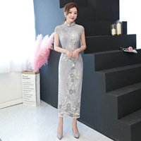 New Arrival Embroidery Qipao Long High Split Lace Cheongsam Dress Women's Chinese Traditional Dress Plus Size M L XL XXL 3XL