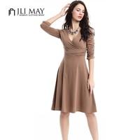 JLI MAY Women Summer Casual Office Dress Elegant Party Vintage High Waist Midi Sexy Dresses Black