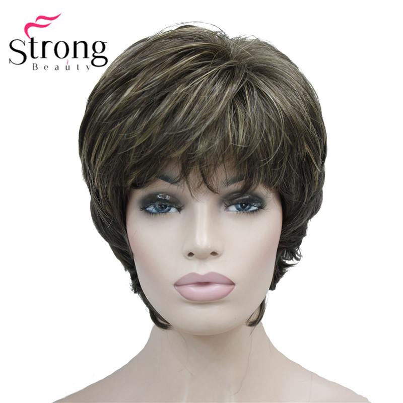 StrongBeauty Short Layered Brown Highlighted Shag Classic Cap Full Synthetic Wig Women's Wigs COLOUR CHOICES