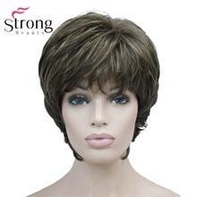 StrongBeauty peluca sintética de estilo clásico para mujer, postizo de capas cortas, color marrón resaltado, estilo Shag