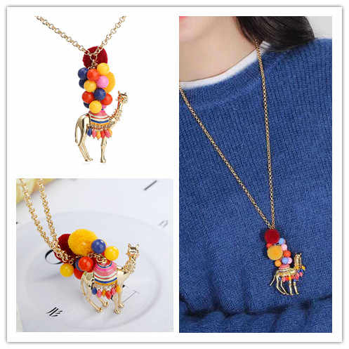 handmade desert camel enamel glaze colorful poms animal necklace sweater chain long necklace big pendant