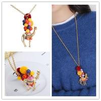 handmade desert camel enamel glaze colorful poms animal necklace sweater chain long necklace big pendant
