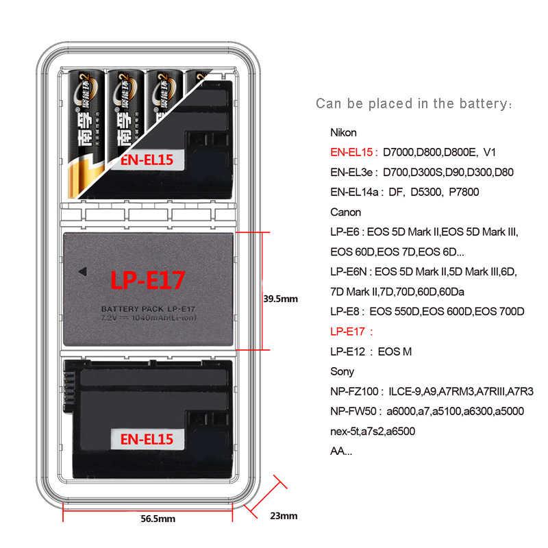 LXH كاميرا للماء صندوق بطارية لكانون LP-E6 LP-E17 سوني NP-FZ100 NP-FW50 نيكون EN-EL15 بطارية حالة SD CF غلاف بطاقة ذاكرة