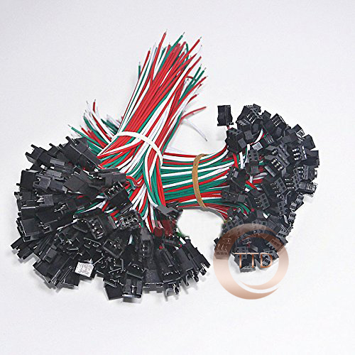 10 Pair 3 Pin JST SM Connectors For WS2812B WS2811 WS2812 LED Strip  Female Male 15CM
