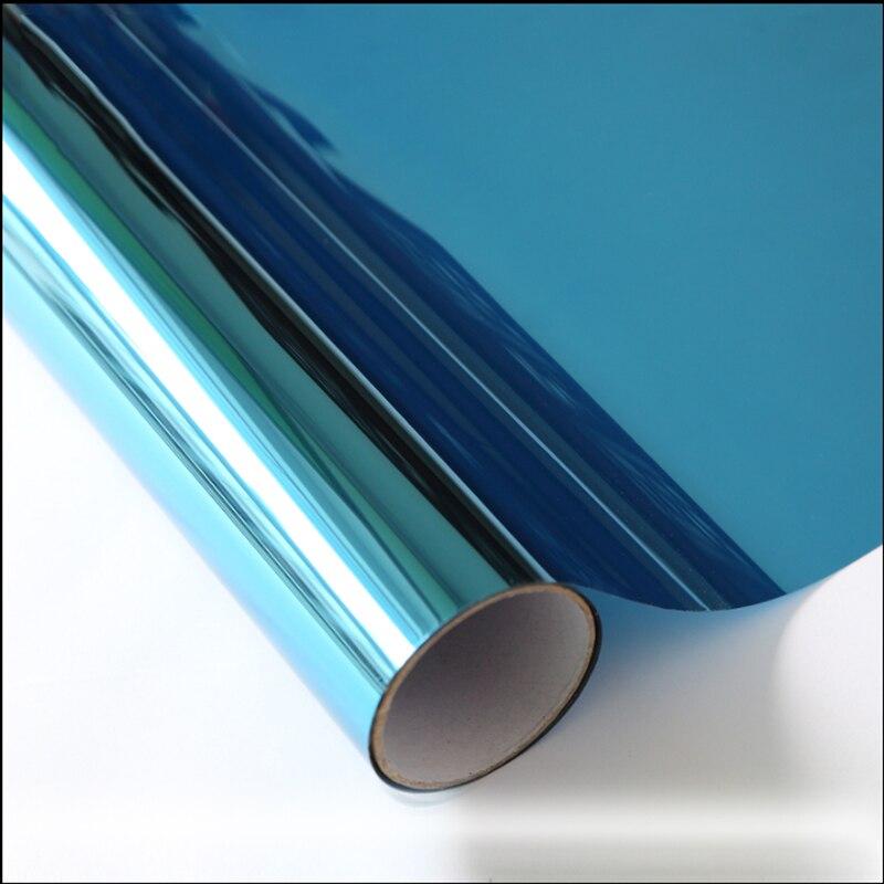 HOHOFILM 1.52x60 m bleu et argent miroir à sens unique feuille de verre Film de fenêtre teinte solaire teinte réfléchissante maison bureau en gros