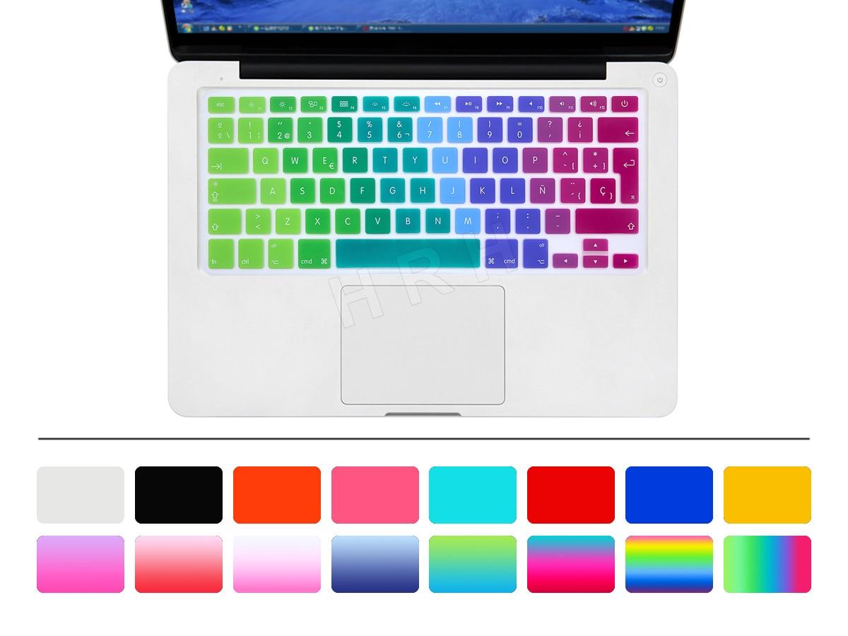6a13d821435 HRH UK/EU ESP Slim Spanish Gradient Rainbow Silicone Keyboard Cover Keypad  Skin Protector For Mac book Air Pro Retina 13 15 17