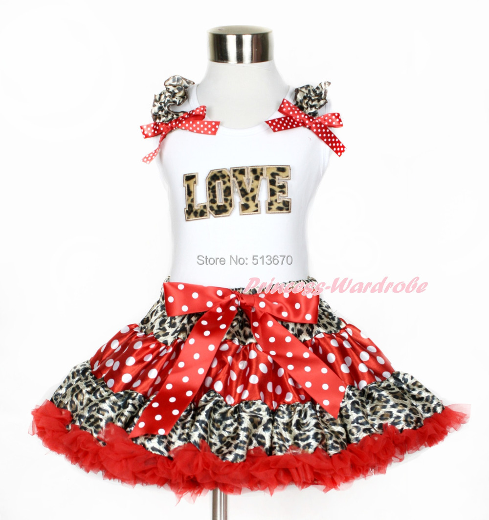 Valentine Leopard LOVE White Top Leopard Minnie Red White Dots Pettiskirt 1-8Y MAPSA0207 xmas leopard minnie dots red pettiskirt with christmas minnie print white long sleeve top with minnie dots lacing mamw413