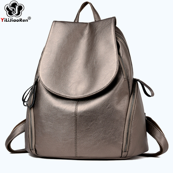 Famous Brand Leather Backpack Female Fashion Women Backpack Large Capacity School Bag Simple Travel Bags Shoulder Bags for Women nylon waterproof backpack student bags for school big back pack laptop double shoulder bag famous brand travel duffle bag