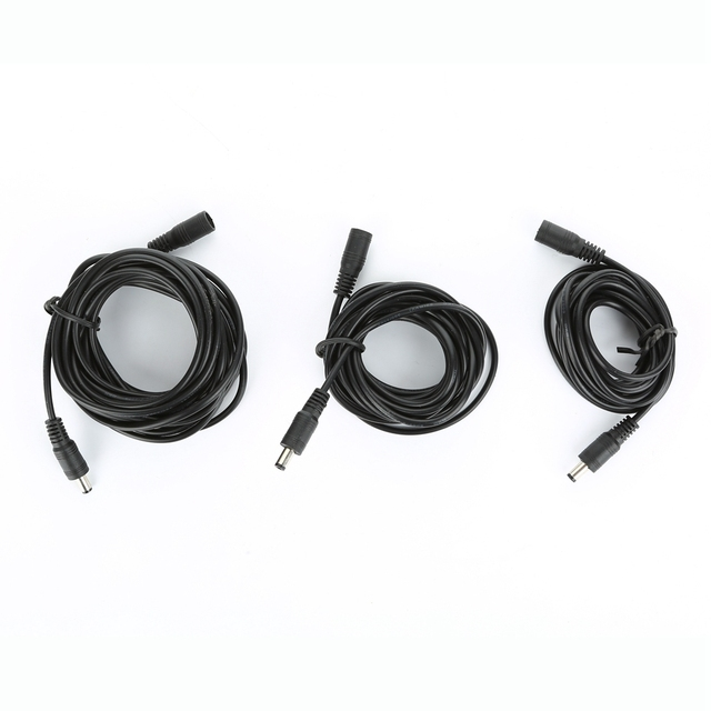 Free Shipping 10m 1m 2m 3m 5m 5.5 x 2.1mm DC Power connector Jack Adapter female + Male extension cable Plug
