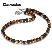 8mm Natural Tiger Eyes Stone Lava Bead Necklace for Women Men 18-20inch Link Chain Stainless Steel Bead Charm Necklace LTNB002(China)
