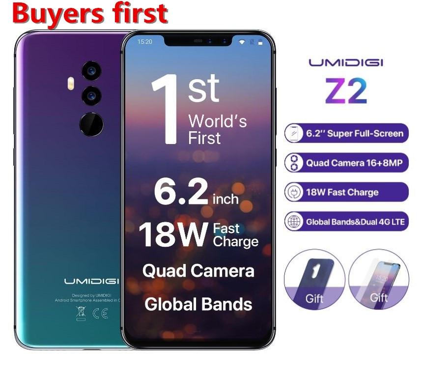 "Global Version UMIDIGI Z2 Helio P23 6GB RAM 64GB ROM Mobile Phone 6.2"" FHD+ 4 Camera Android 8.1 3850mah Face ID 4G Smartphone"