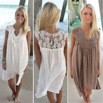 2018 Sexy Chiffon women dress casual Sleeveless loose summer dress lady Hollow Out White tunic lace Beach Dress plus Size 1