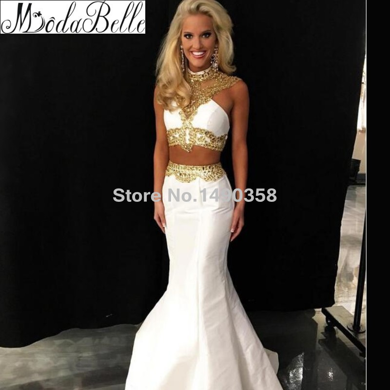 Prom dresses white and gold lace trim