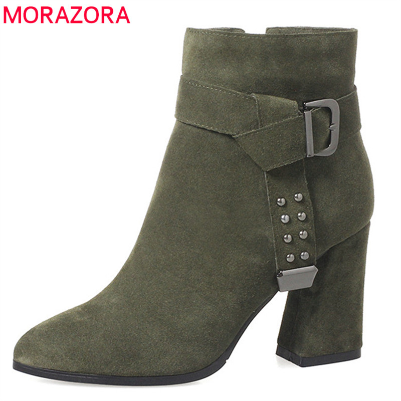 MORAZORA 2018 new arrival boots women pointed toe zip autumn winter ankle boots rivet solid color square high heels shoes woman enmayla autumn winter chelsea ankle boots for women faux suede square toe high heels shoes woman chunky heels boots khaki black