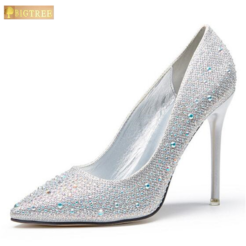 Classic Sequined Cloth Shallow Women Pumps 2017 New Womens Fashion Crystal Pointed sexy 10cm Sexy Wedding shoes party Women