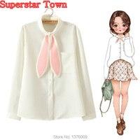Blanc Blouses Femmes Lolita Chemise Harajuku Kawaii Vêtements Mori Fille À Manches Longues Mignon Lapin Oreilles Vintage Peplum Tops Blusa Camisa