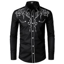 Embroidered Blouse Long sleeves Men's Casual Floral Shirt Fashion Denim Mens Dress Shirts Red Black