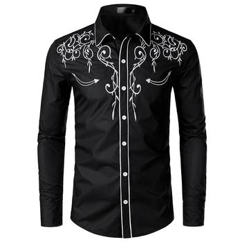 Embroidered Blouse Long sleeves Men's Casual Floral Shirt Fashion Denim Mens Dress Shirts Red Black цена 2017