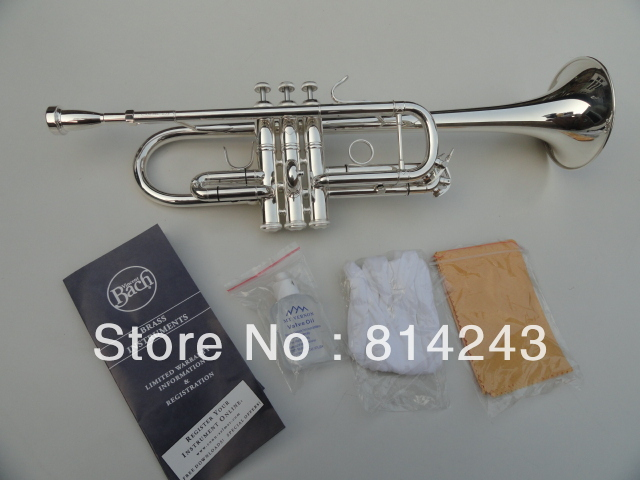 Customized Type Trumpet  Bb Small Bach C180SML239 Silver  Trumpet Professional Musical Instruments With Case Gloves new genuine americano top bach trumpet gold and silver plated silver ab 190sbach small musical instruments professional