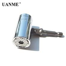цена на UANME Magic Spanner Grip Multi Function Universal Ratchet Socket 7-19mm Power Drill Adapter Car Hand Tools Repair Kit