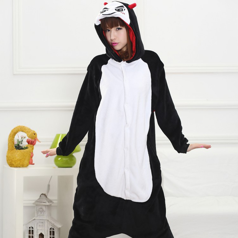 Funny Black Devil Kigurumi Soft Flannel One-Piece Pajamas Warm Demon Halloween Onesie For Adults Cosplay Party Costume Sleepwear (6)