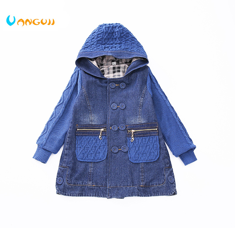 2018 children wind coat 5-13 year old girls all-match clothes denim coat Diamond jacquard Sweater sleeves pocket spring autumn bell sleeves buttoned loose fitted coat
