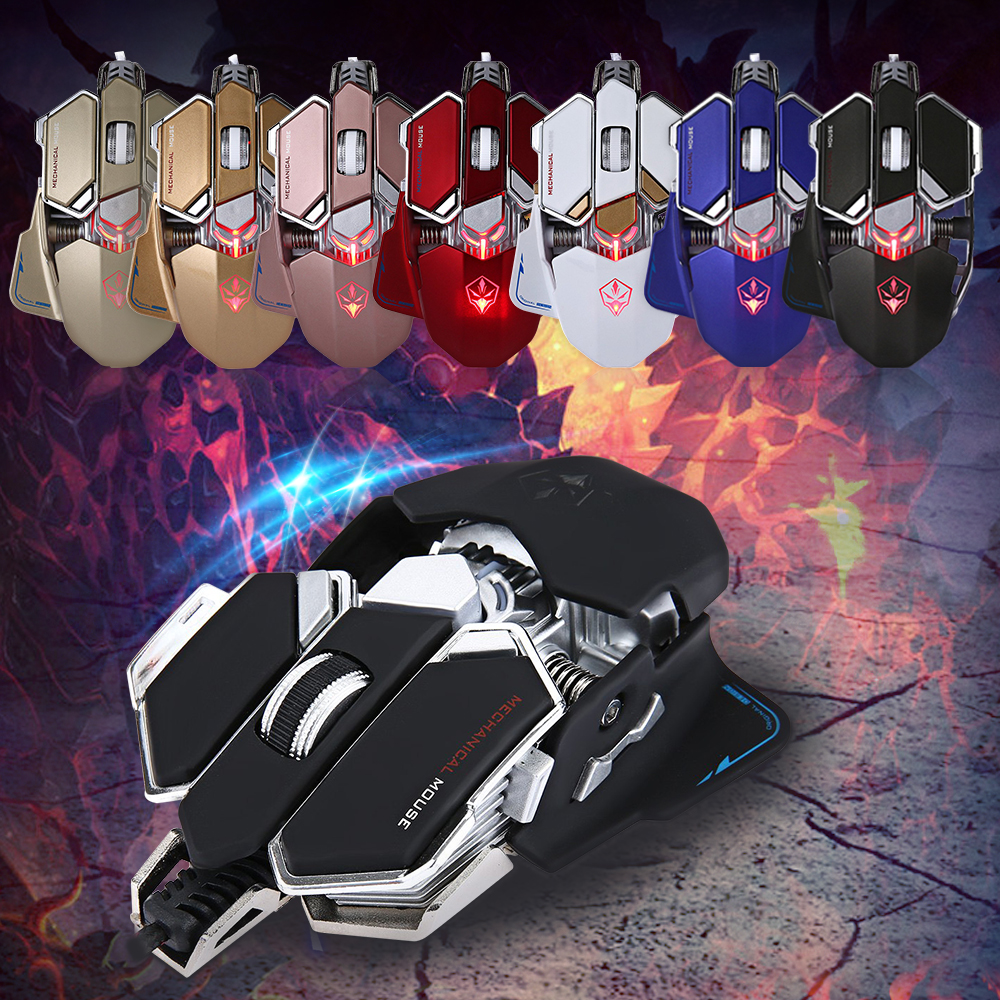 G10 4000 DPI LED Optical USB Mechanical Wired Gaming Mouse Defined Macro Programming10 Keys Adjustable Breathing Light