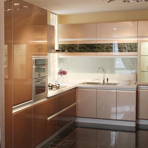En forma de l cocina moderna lacada de dise o muebles en for Cocinas en forma de l