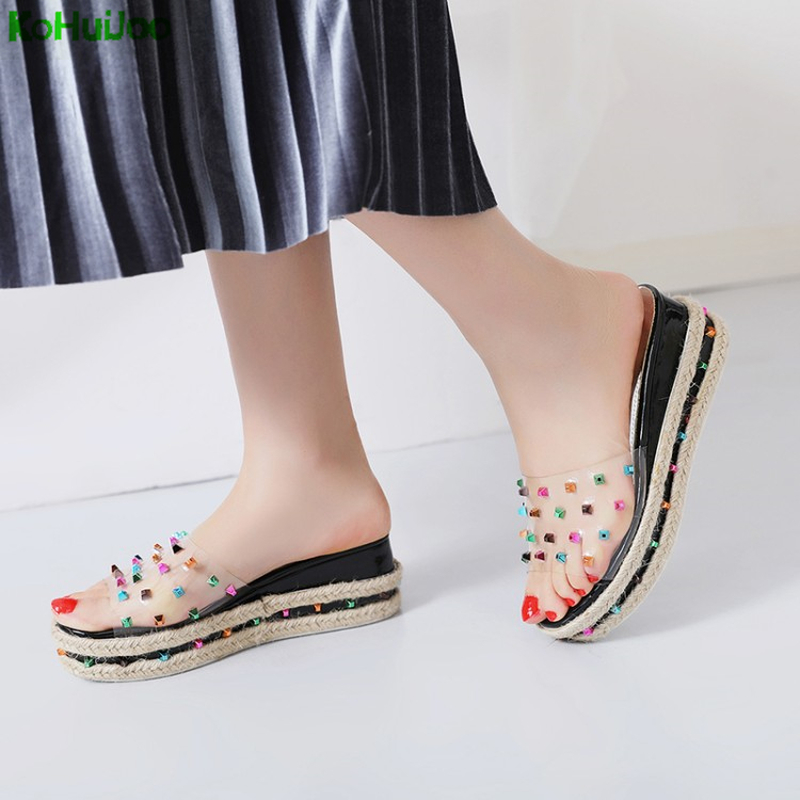 KoHuiJoo Flip Flops Sliders Jelly Sandals Platform Shoes Summer 2018 Fashion Outside Slippers 6 Cm Wedges High Heels Black Shoes