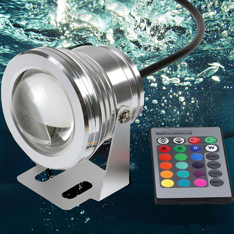 10W 12-24V LED IP67 Underwater Spot Light Garden Pool Pond Aquarium Lamp Remote Light Atmosphere lighting Lights