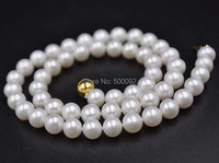 Stunning 7.5-8mm round real pearl necklace free shipping ball gold clasp